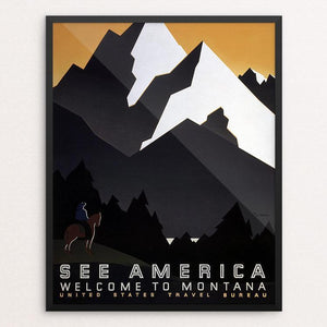 "See America Welcome to Montana by M. Weitzman Framed / 16"" by 20"" Print WPA Federal Art Project"