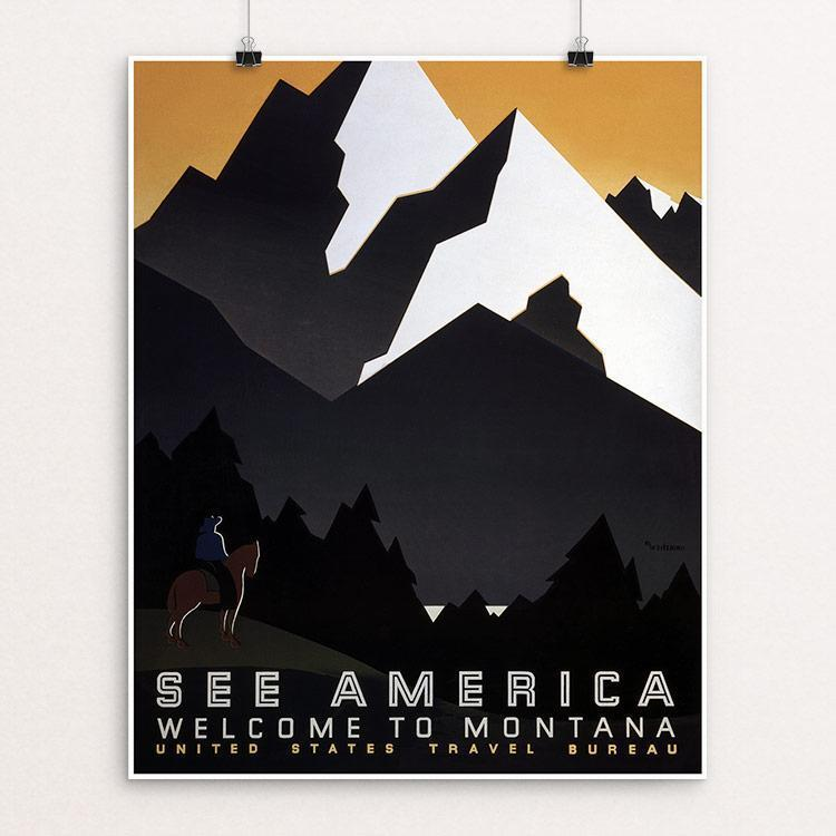 "See America Welcome to Montana by M. Weitzman Unframed / 16"" by 20"" Print WPA Federal Art Project"