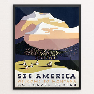 "See America Welcome to Montana by Richard Halls Framed / 16"" by 20"" Print WPA Federal Art Project"