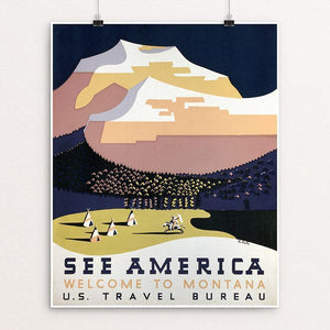 "See America Welcome to Montana by Richard Halls Unframed / 16"" by 20"" Print WPA Federal Art Project"