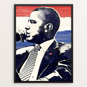 "Seize the Moment by Mark Forton 12"" by 16"" Print / Framed Print Design for Obama"