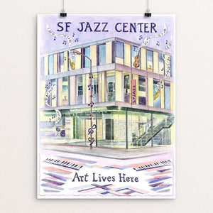 "SF Jazz Center by Elizabeth Kennen 12"" by 16"" Print / Unframed Print Art Lives Here"