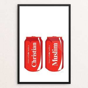 "Share a Coke-Christian/Muslim by Keith Francis 12"" by 18"" Print / Framed Print Power to the Poster"