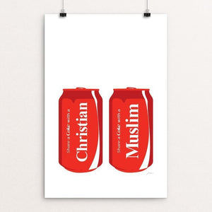 "Share a Coke-Christian/Muslim by Keith Francis 12"" by 18"" Print / Unframed Print Power to the Poster"