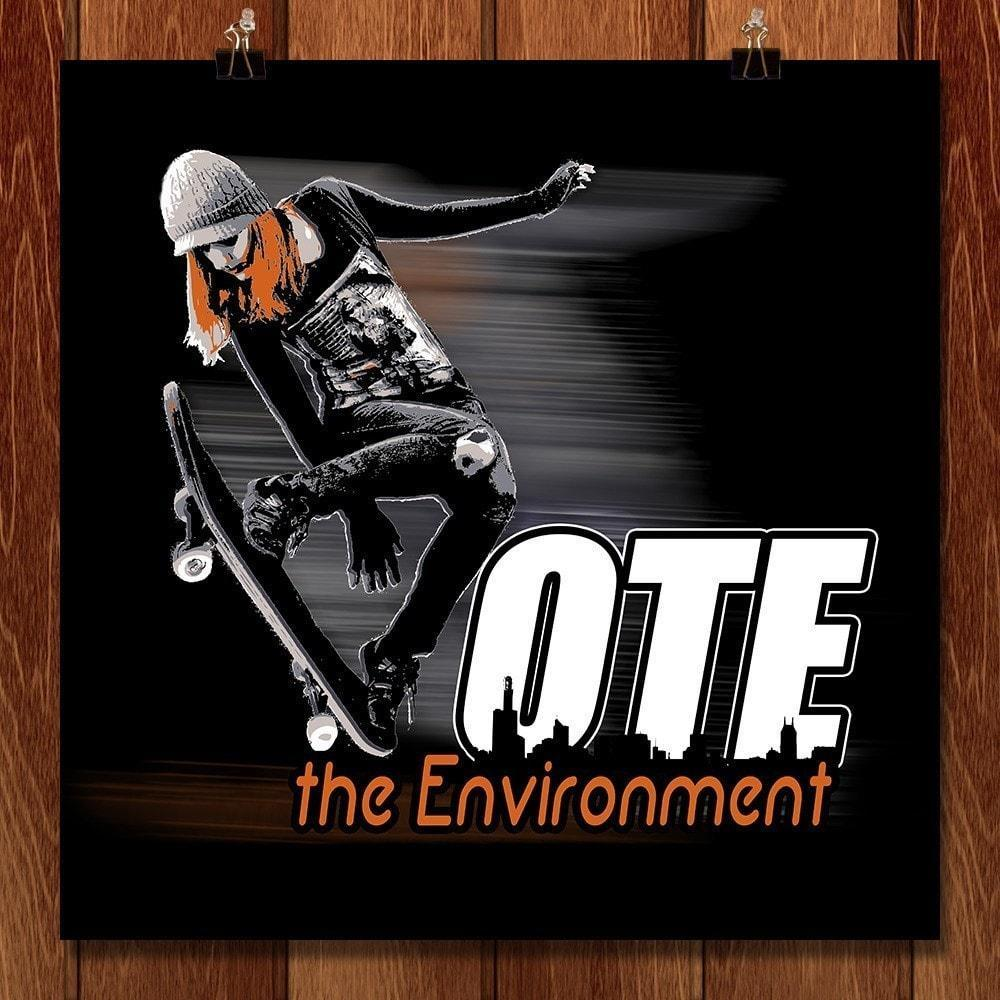 "Skater Vote by E. Michelle Peterson 12"" by 12"" Print / Unframed Print Vote the Environment"