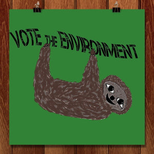 "Sloth by McKenzie Heras 12"" by 12"" Print / Unframed Print Vote the Environment"