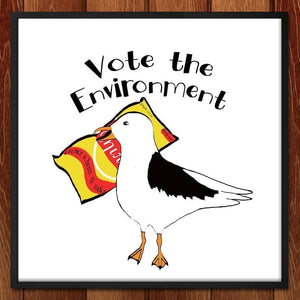 "Snack Seagull by Bridget Mitchell 12"" by 12"" Print / Framed Print Vote the Environment"