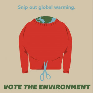 "Snip Out Global Warming by Rebecca Johnson 12"" by 12"" Print / Unframed Print Vote the Environment"