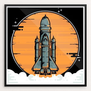 "Space Mission by Alex Stany 12"" by 12"" Print / Framed Print Space Horizons"