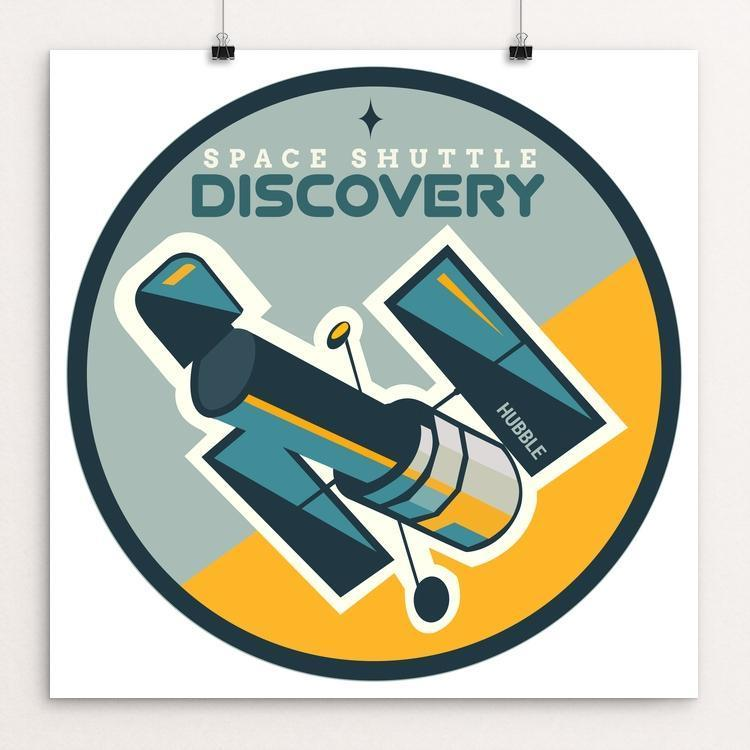 "Space Shuttle Discovery by Jennifer Brigham 12"" by 12"" Print / Unframed Print Space Horizons"