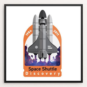 "Space Shuttle Discovery by Matthew Hamilton 12"" by 12"" Print / Framed Print Space Horizons"