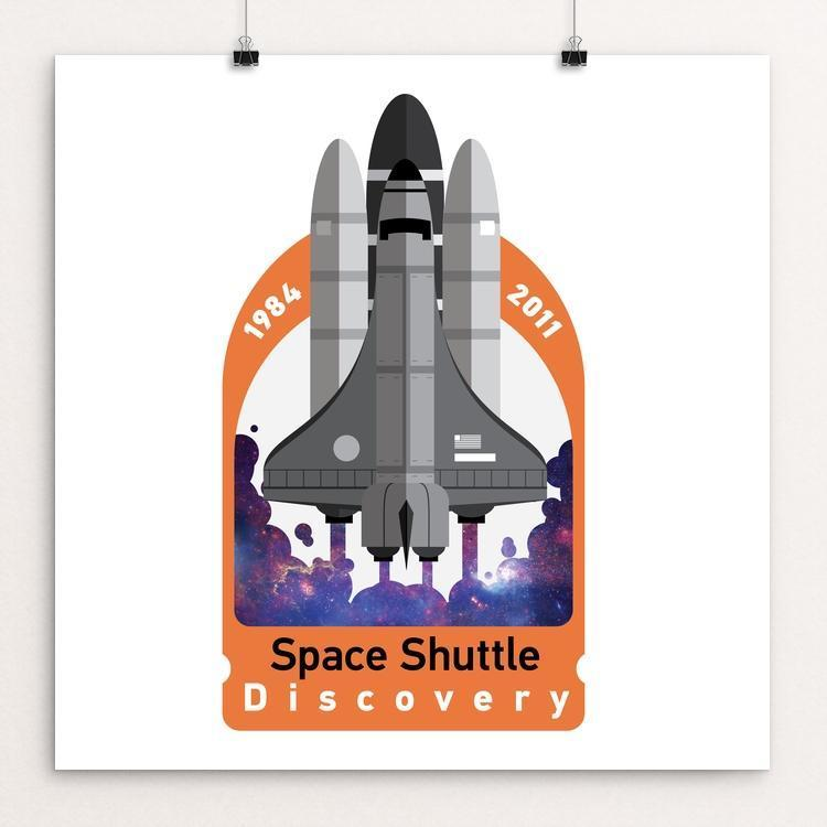 "Space Shuttle Discovery by Matthew Hamilton 12"" by 12"" Print / Unframed Print Space Horizons"