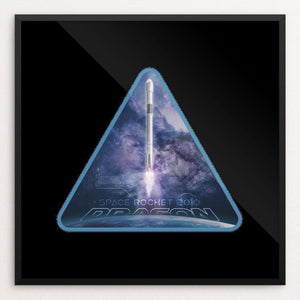"Space X Dragon 2010 by Greythief 12"" by 12"" Print / Framed Print Space Horizons"