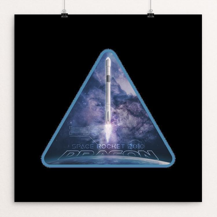 "Space X Dragon 2010 by Greythief 12"" by 12"" Print / Unframed Print Space Horizons"