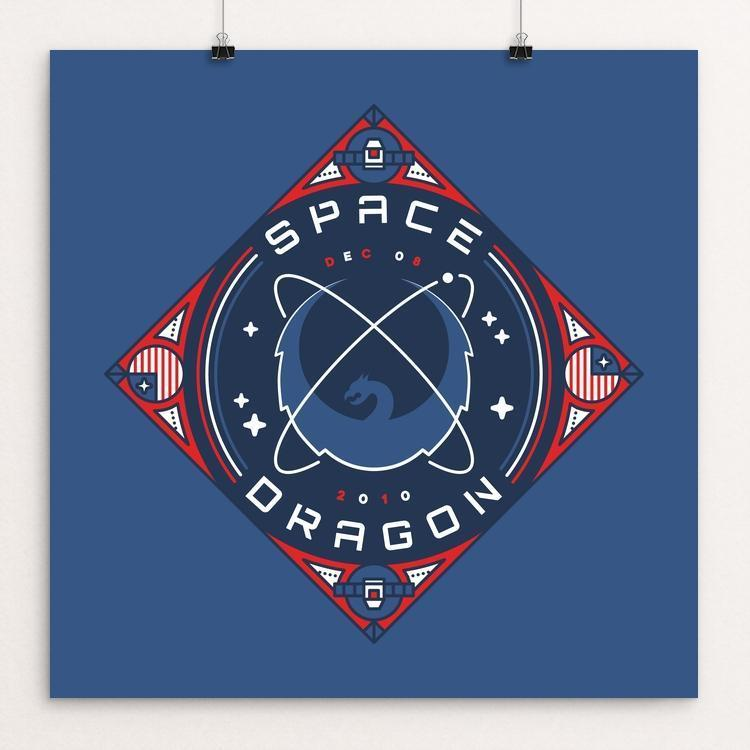 "SpaceX Dragon by Stuart Hill 12"" by 12"" Print / Unframed Print Space Horizons"