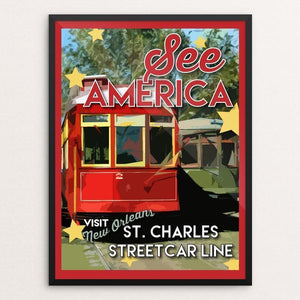 "St. Charles Streetcar Line by Robin Rials Williams 12"" by 16"" Print / Framed Print See America"
