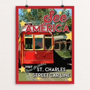 "St. Charles Streetcar Line by Robin Rials Williams 12"" by 16"" Print / Unframed Print See America"