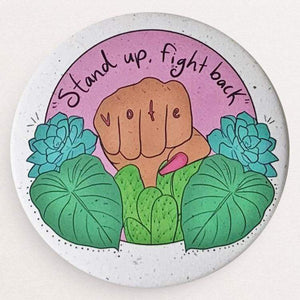 Stand Up, Fight Back Hemp Vote Button by Manuela Guillén Hemp Buttons Vote!