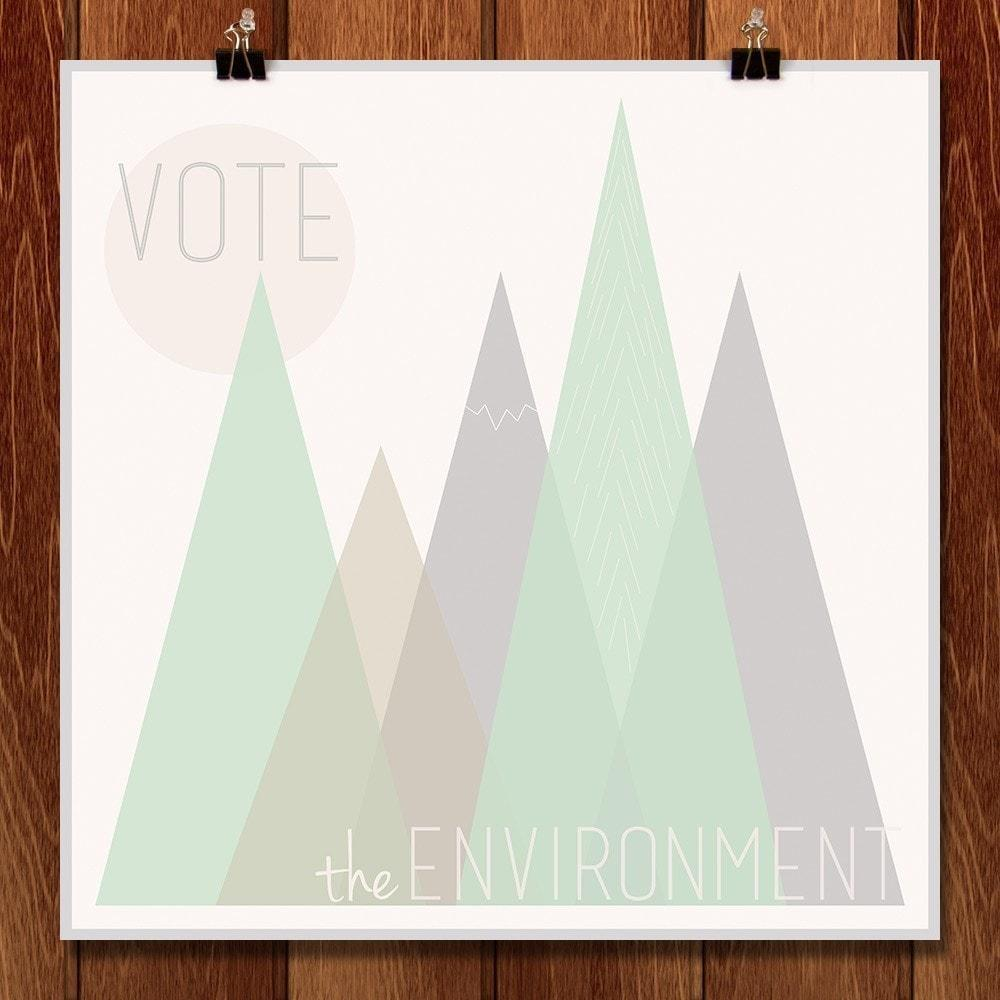 "Stand Up for the Environment by Sarah Eckberg 12"" by 12"" Print / Unframed Print Vote the Environment"