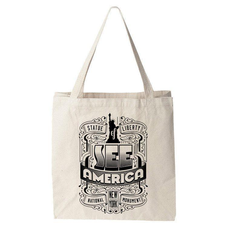 Statue of Liberty National Monument 2 Tote Bag by Roberlan Borges Tote Bag See America
