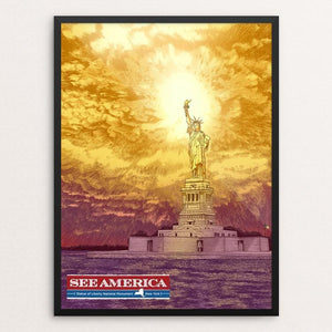 "Statue of Liberty National Monument by Brixton Doyle 12"" by 16"" Print / Framed Print See America"