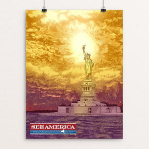 "Statue of Liberty National Monument by Brixton Doyle 12"" by 16"" Print / Unframed Print See America"