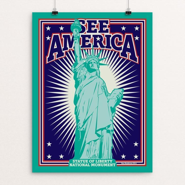 "Statue of Liberty National Monument by Don Henderson 12"" by 16"" Print / Unframed Print See America"