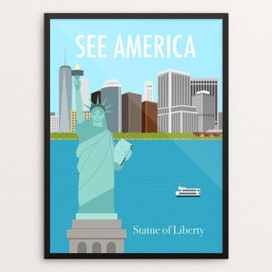 "Statue of Liberty National Monument by Mandy Sun 18"" by 24"" Print / Framed Print See America"