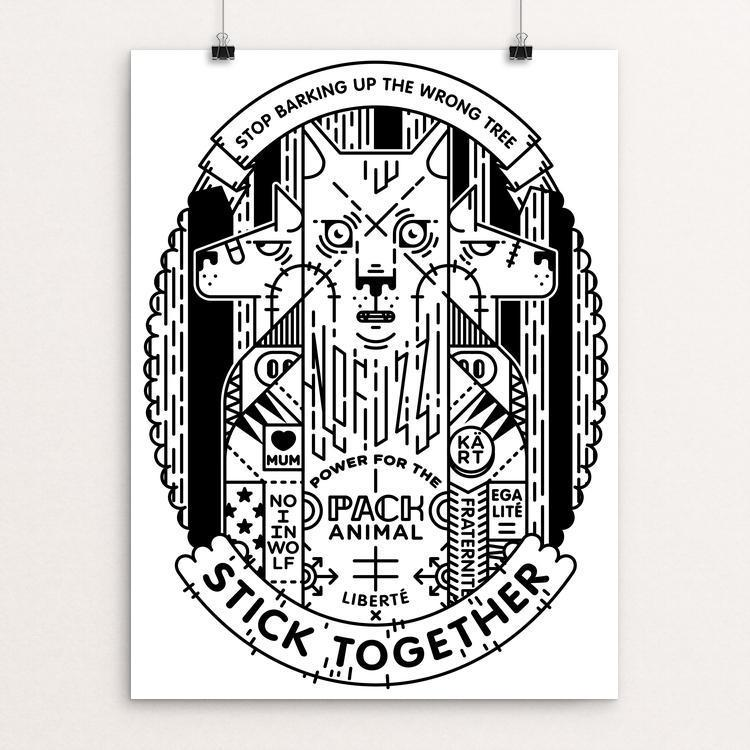 "Stick Together by Milli Malli 12"" by 16"" Print / Unframed Print Join the Pack"