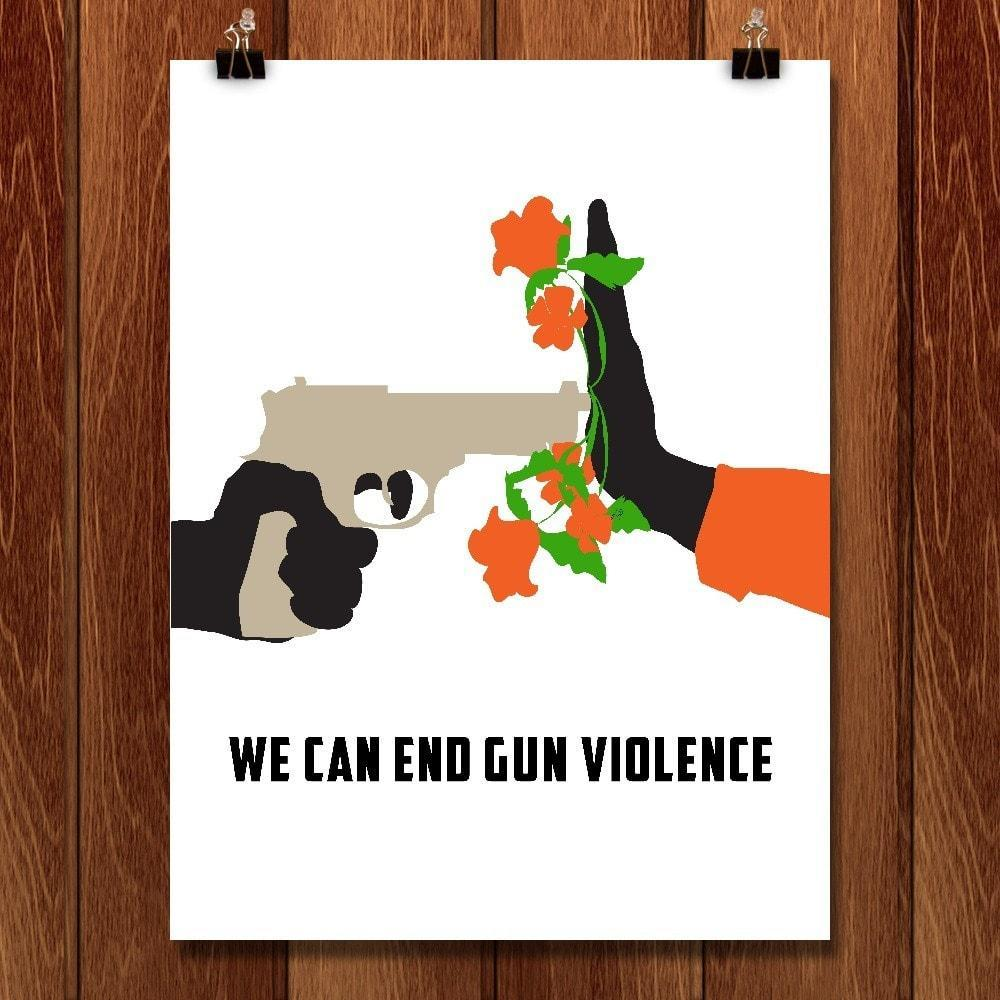 "Stop Gun Violence by Lyla Paakkanen 12"" by 16"" Print / Unframed Print Wear Orange"