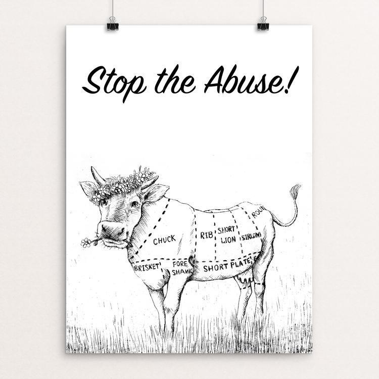 "stop the abuse by Alexandra Secrieru 12"" by 16"" Print / Unframed Print Creative Action Network"