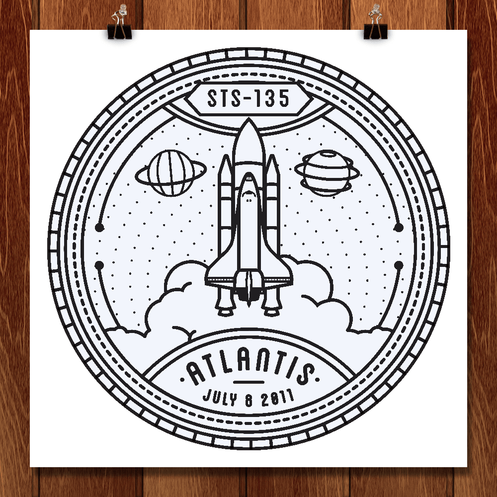 "STS-135 by Seiji Hori 12"" by 12"" Print / Unframed Print Space Horizons"