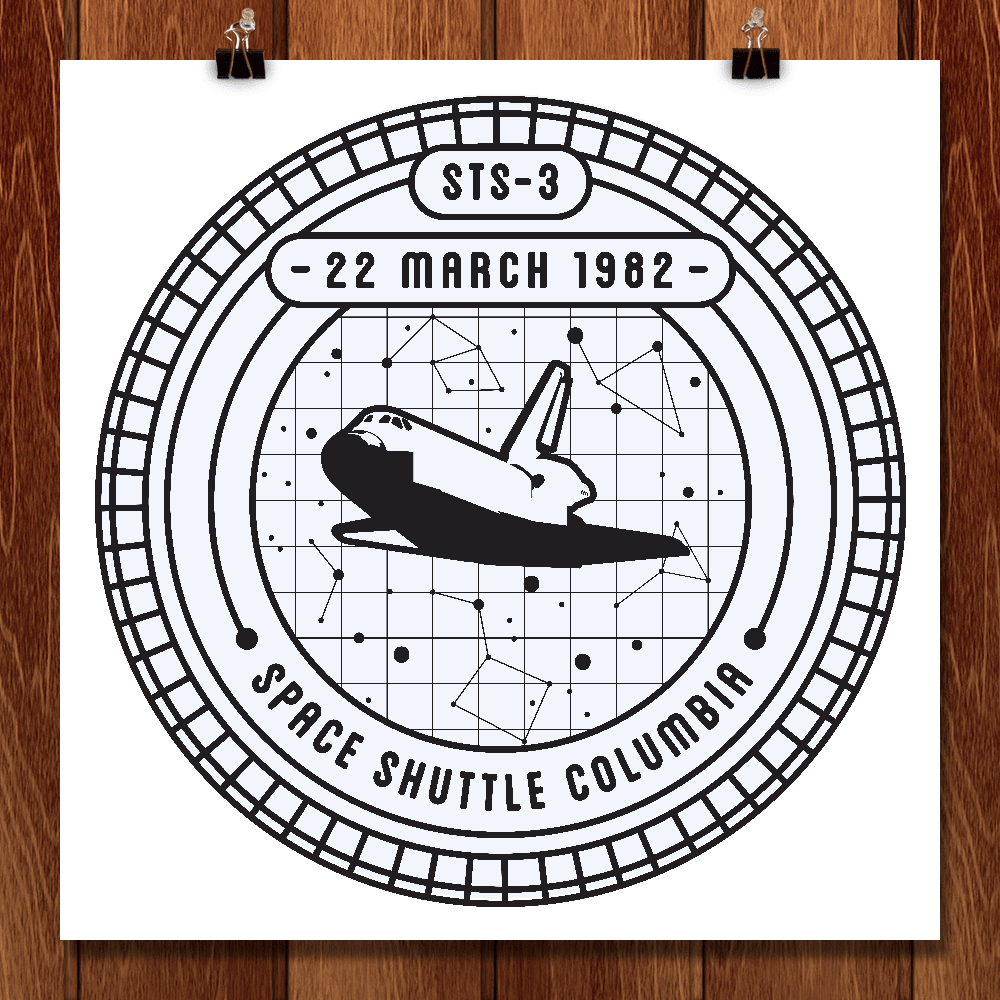 "STS-3 by Seiji Hori 12"" by 12"" Print / Unframed Print Space Horizons"