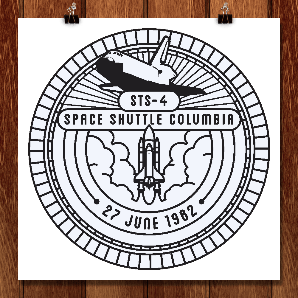 "STS-4 by Seiji Hori 12"" by 12"" Print / Unframed Print Space Horizons"