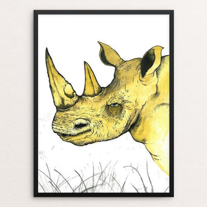 "Sudan the Rhino by Rob Wilkinson 12"" by 16"" Print / Framed Print Creative Action Network"