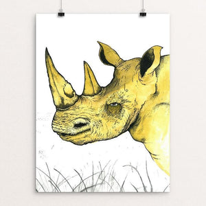 "Sudan the Rhino by Rob Wilkinson 12"" by 16"" Print / Unframed Print Creative Action Network"