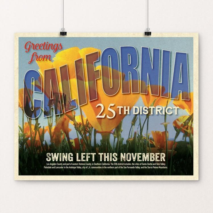 "Swing Left California's 25th District (CA-25) by Brooke Fischer 20"" by 16"" Print / Unframed Print Postcards from America's Swing Districts"
