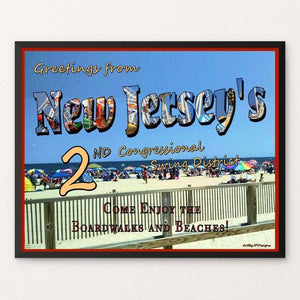 "Swing the States - NJ by JP Designs 20"" by 16"" Print / Framed Print Postcards from America's Swing Districts"