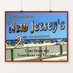 "Swing the States - NJ by JP Designs 20"" by 16"" Print / Unframed Print Postcards from America's Swing Districts"
