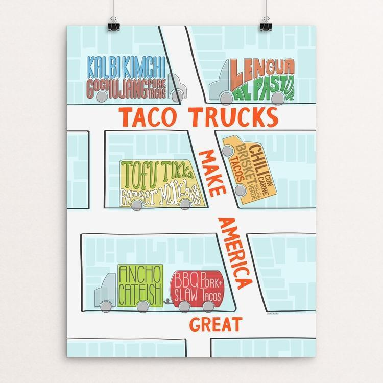"Taco trucks by Catherine Nguyen 12"" by 16"" Print / Unframed Print What Makes America Great"