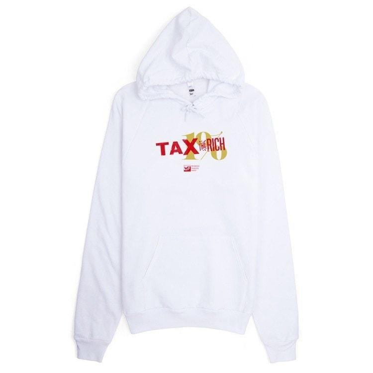 Tax the Rich Hoodie by Mr. Furious S / White Hoodie Working Families P(ART)Y