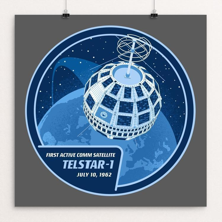 "Telstar-1 by Brixton Doyle 12"" by 12"" Print / Unframed Print Space Horizons"