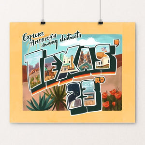 "Texas' 23rd by Caitlin Alexander 20"" by 16"" Print / Unframed Print Postcards from America's Swing Districts"