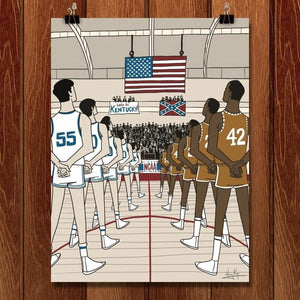 "Texas Western, NCAA Basketball, 1966 by Henry Kaye 18"" by 24"" Print / Unframed Print Transcend - Moments in Sports that Changed the Game"