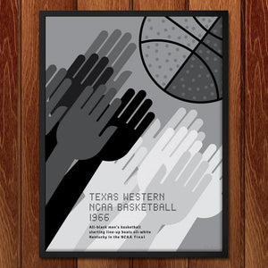 "Texas Western, NCAA Basketball, 1966 by Jon Briggs 18"" by 24"" Print / Framed Print Transcend - Moments in Sports that Changed the Game"