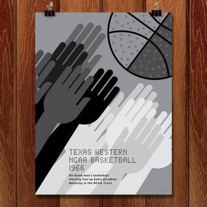 "Texas Western, NCAA Basketball, 1966 by Jon Briggs 18"" by 24"" Print / Unframed Print Transcend - Moments in Sports that Changed the Game"