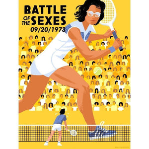 "The Battle of the Sexes II, Houston, Sept. 20, 1973 by Kali Ciesemier 18"" by 24"" Print / Unframed Print Transcend - Moments in Sports that Changed the Game"
