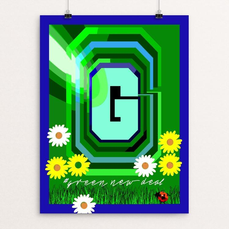 "The Big ""G"" #2 by Bob Rubin 18"" by 24"" Print / Unframed Print Green New Deal"
