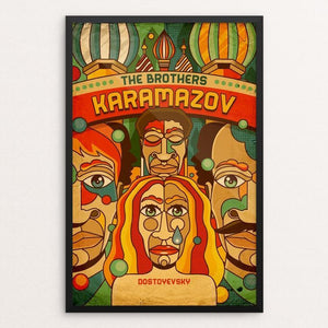 "The Brothers Karamazov by Roberlan Borges 12"" by 18"" Print / Framed Print Recovering the Classics"