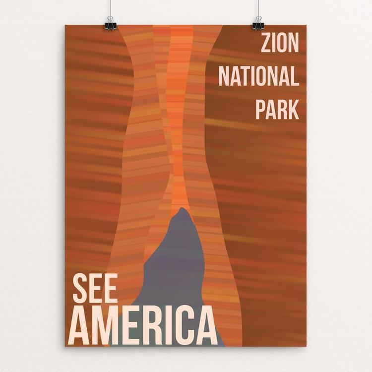 "The Caves, ZIon National Park by Rochelle Dai 12"" by 16"" Print / Unframed Print See America"